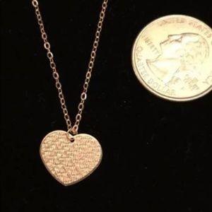 "Jewelry - New 14k Rose gold heart pendant & 14k 18"" chain"